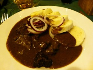 Meat goulash with bread dumplings - made from soaked stale bread as we found out later. Still yummy though.