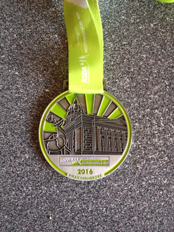 Finishers medal, Nottingham 10km