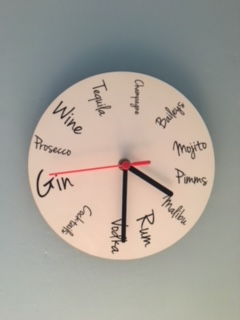 A personalised drinks clock for my Lady Cave from the hubster. I am an overweight alcoholic !